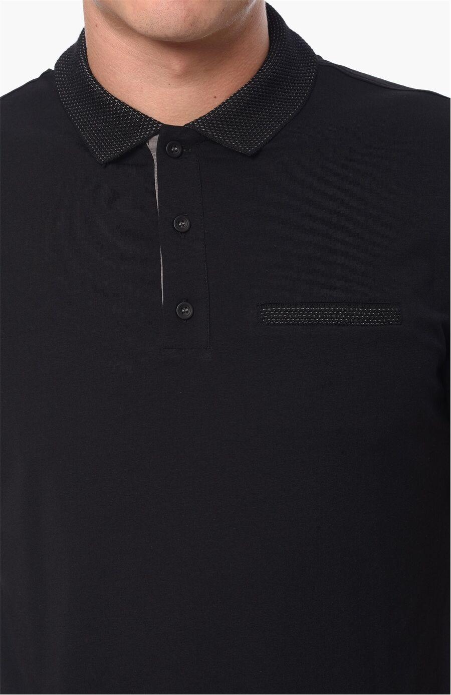 Polo Yaka Slım Fit Siyah Tshirt