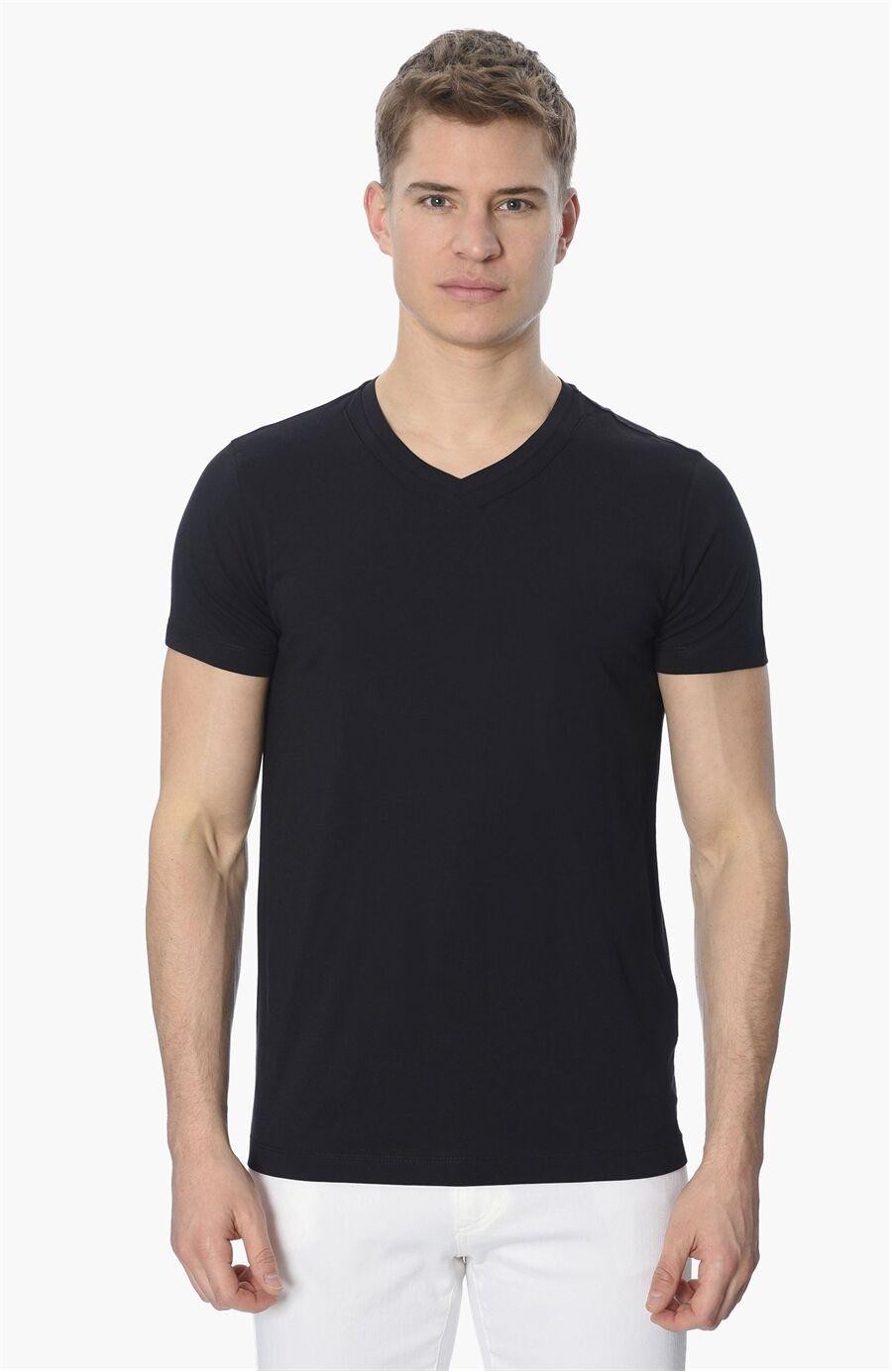 Bisiklet Yaka Slım Fit Siyah Tshirt
