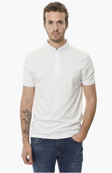 Polo Yaka Slım Fit Beyaz Tshirt