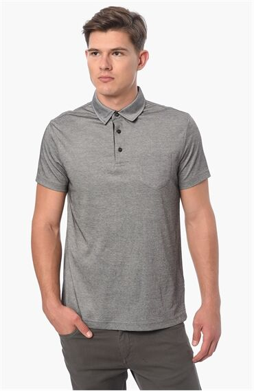 Polo Yaka Slım Fit Antrasit Tshirt