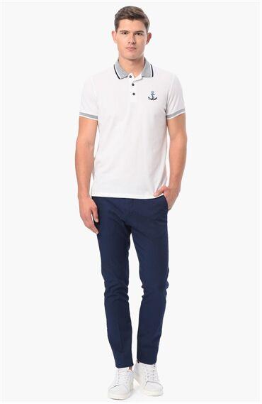 Nakışlı Slım Fit Beyaz Tshirt