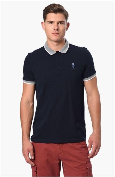Nakışlı Slım Fit Lacivert Tshirt