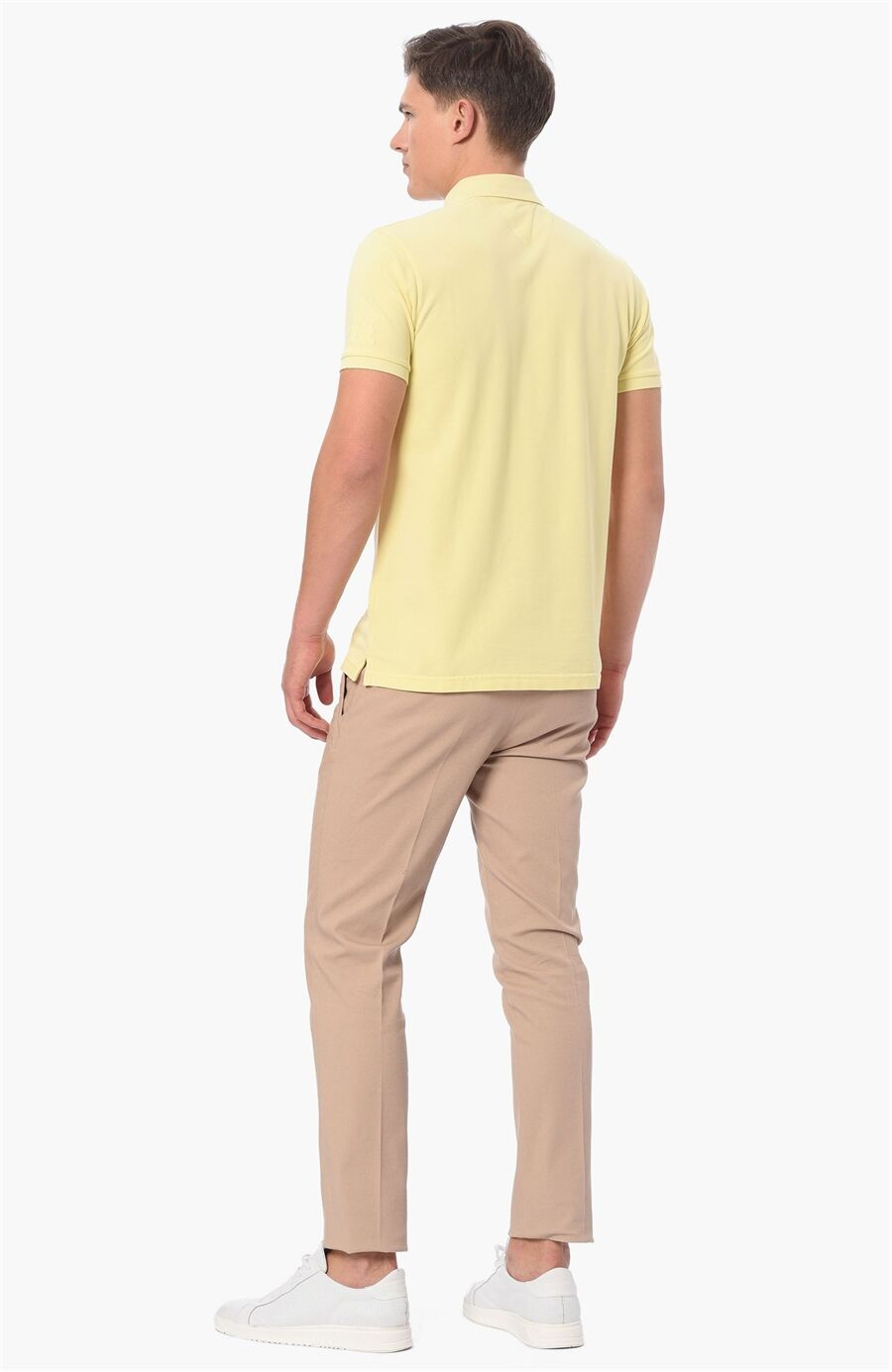 Polo Yaka Slım Fit Sarı Tshirt