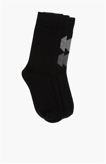 Ekose Siyah 2Li Erkek Çorap Seti