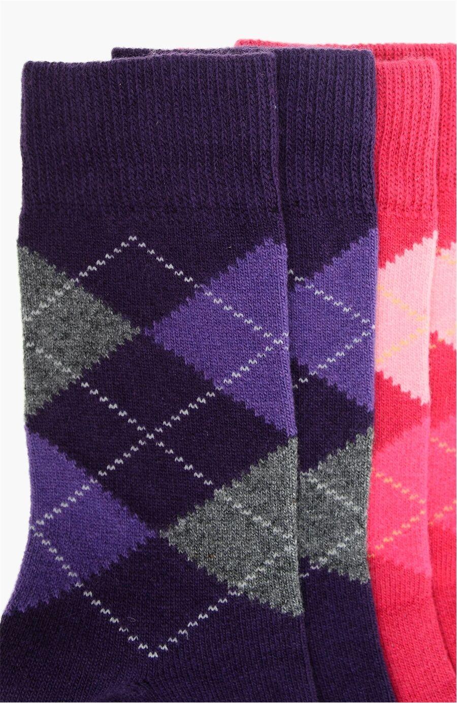 Ekose Mor 2Li Kadın Çorap Set