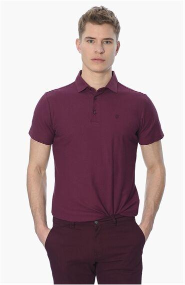 Slım Fit Kısa Kol Bordo Tshirt