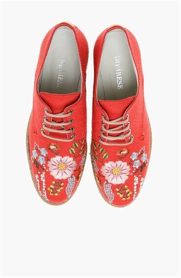 Desenli Nar Çiçeği Ayakkabı