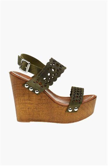 Haki Platform Kadın Sandalet