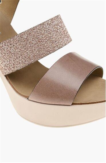 Platformlu Deri Kahverengi Sandalet