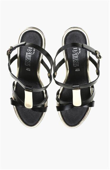Platformlu Deri Siyah Sandalet