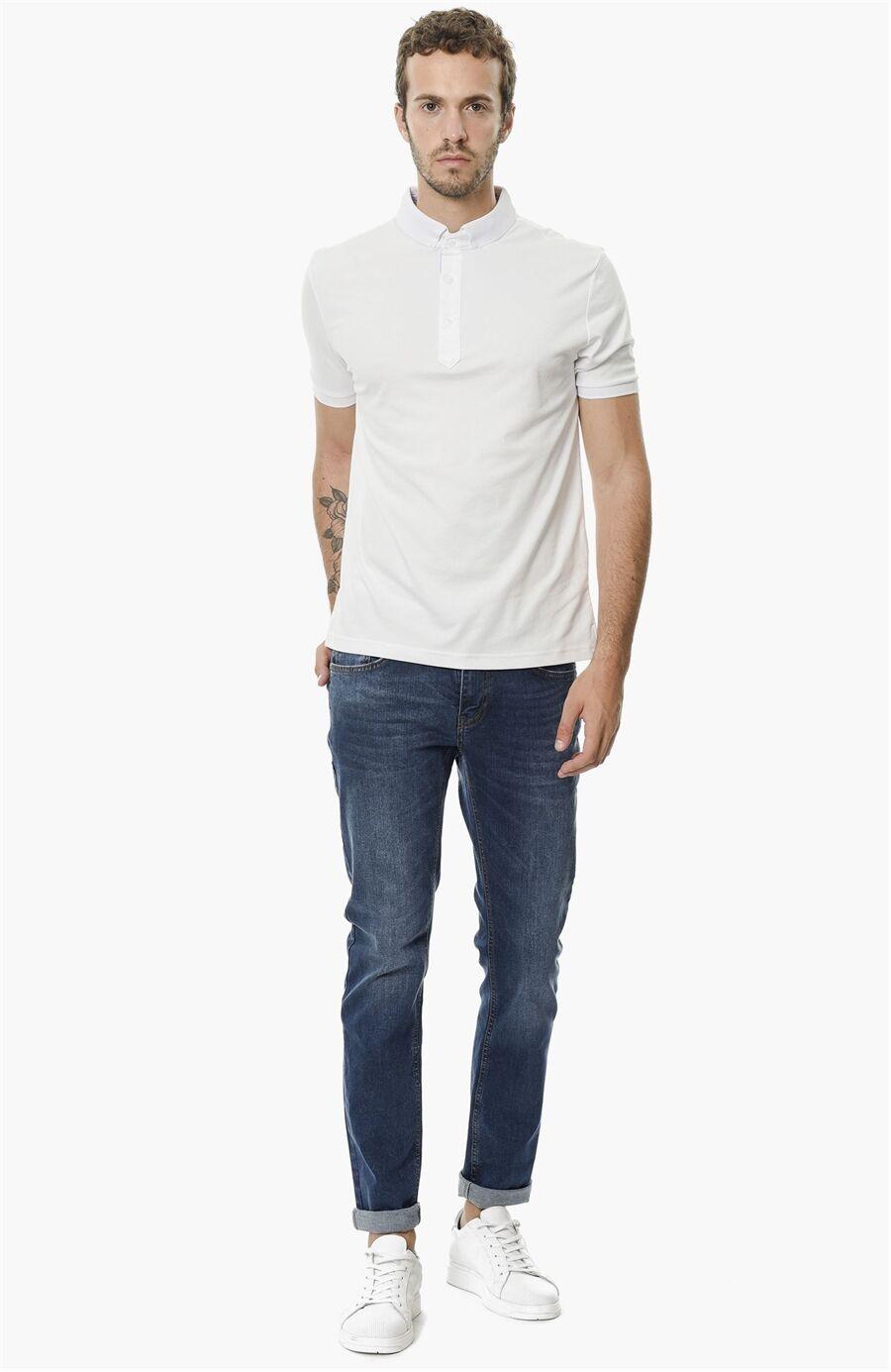 Slim Fit Mavi Denım Pantolon