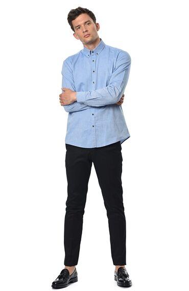 Oxford Slım Fit Koyu Mavi Gömlek