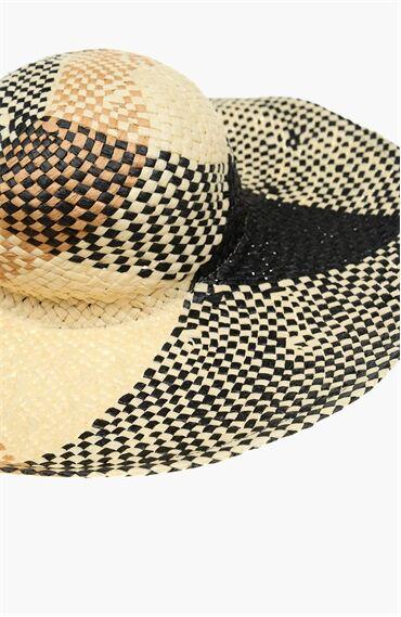 Hasir Siyah Bej Kadın Şapka