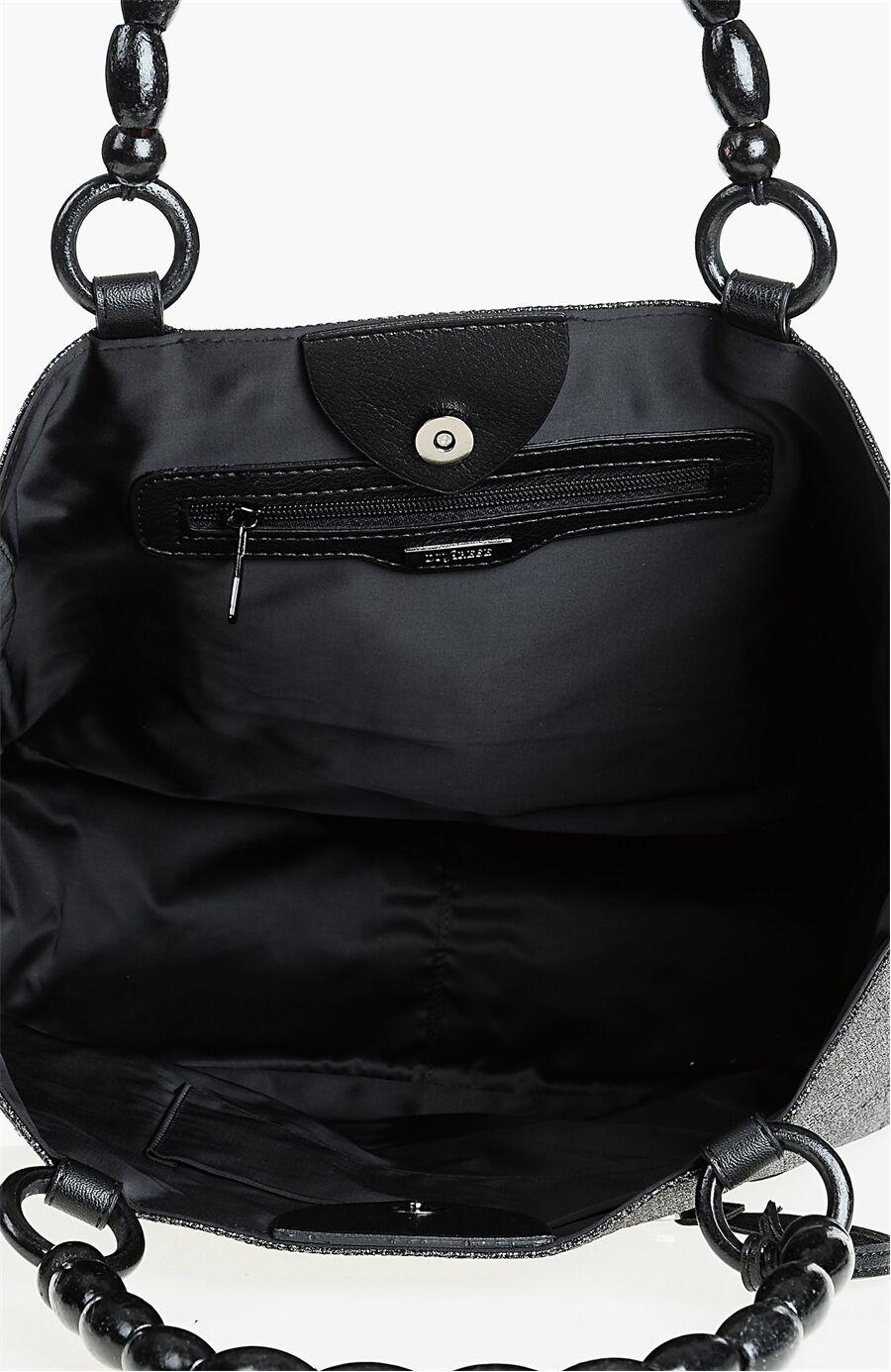 Nakışlı Siyah Çanta