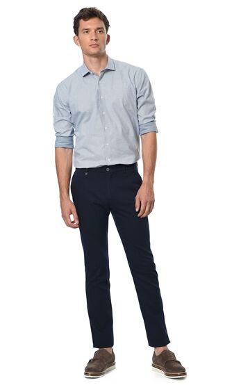 Desenli Slim Fit Mavi Beyaz Gömlek