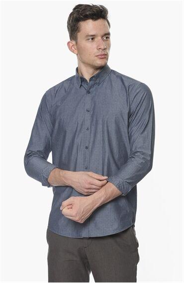 Armürlü Desen İndigo Gömlek