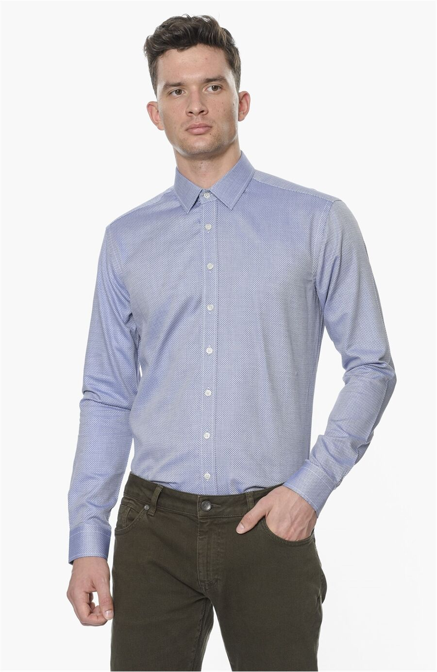 Modern Fit Mavi Beyaz Mikro Desenli Erkek Gömlek