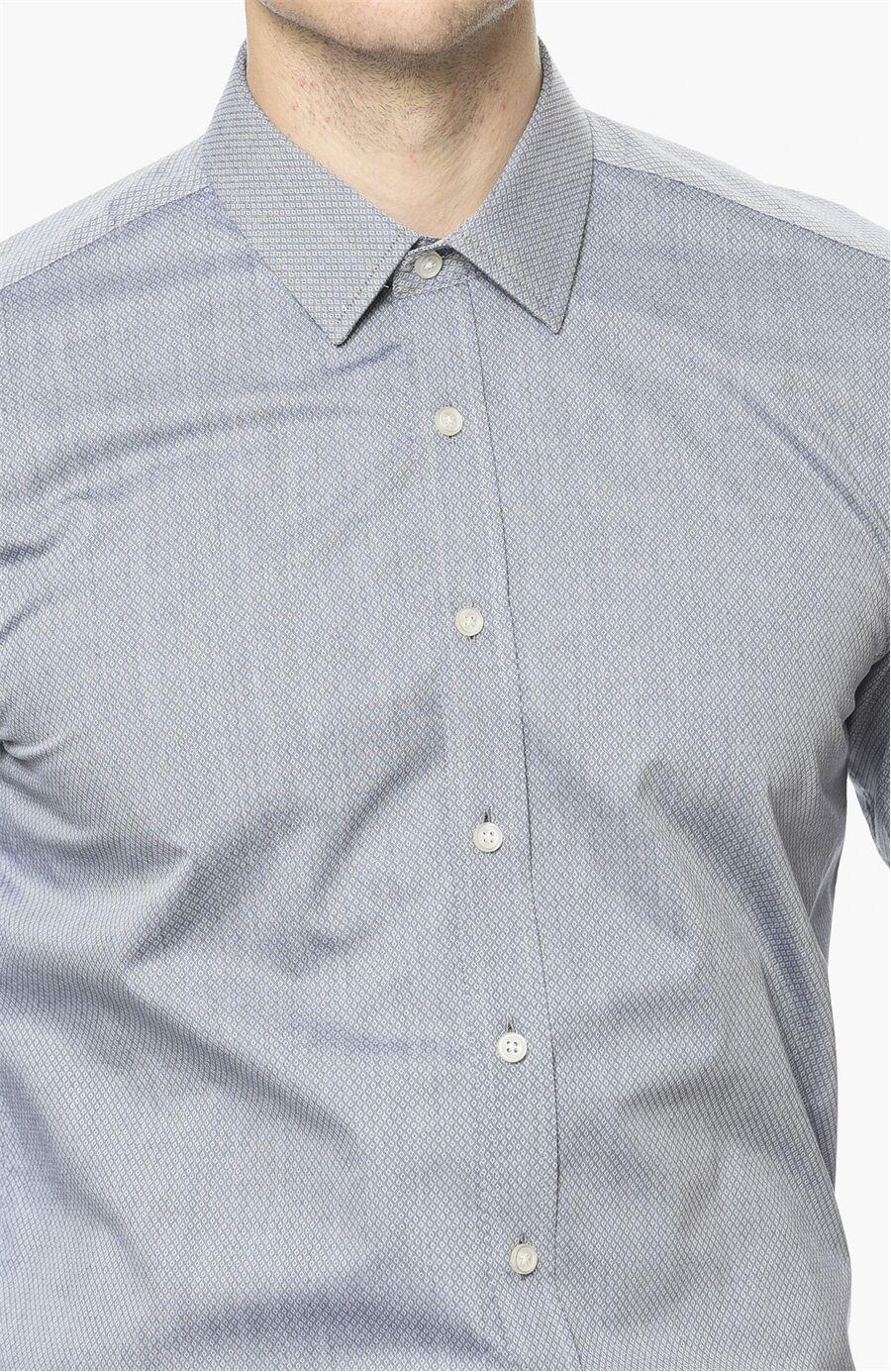 Armürlü Desen Lacivert Gömlek