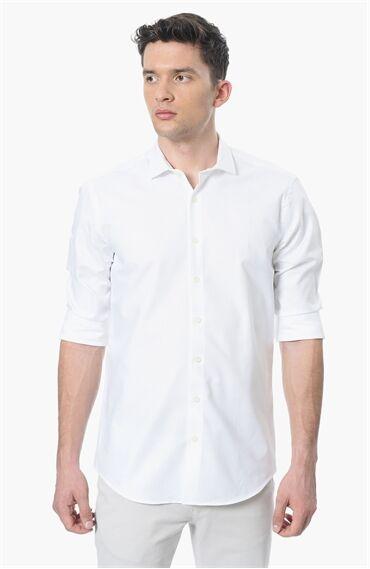 Mikro Slım Fit Beyaz Gömlek