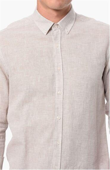 Çizgili Bej Gömlek