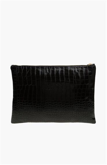 Krokodil Desenli Siyah Kadın El Çantası