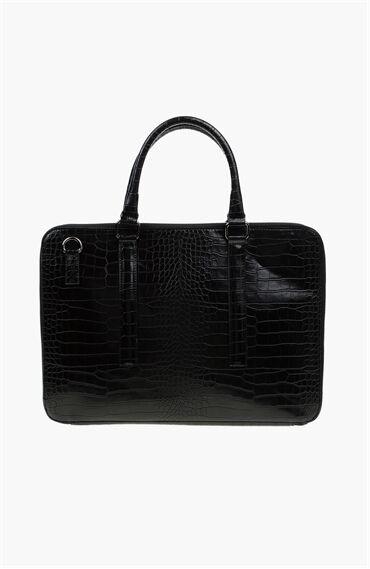 Krokodil Desenli Siyah Laptop Erkek Çantası