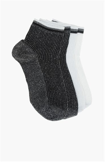 Gümüş Rengi Siyah 2'li Kadın Çorap Set