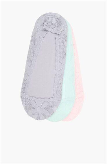 Gri-Pembe 3'Lü Kadın Çorap Set