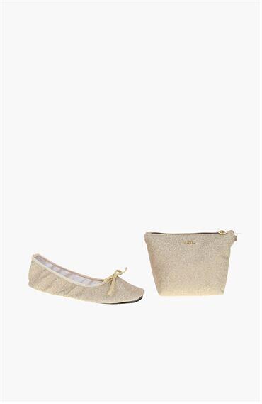 Altın Rengi Kadın Babet+Çanta Set