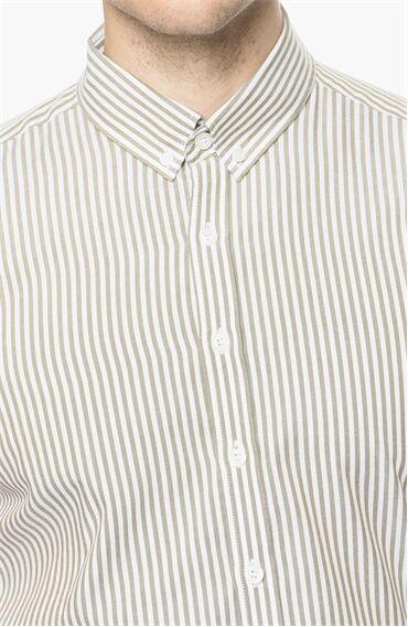Çizgili Beyaz Yeşil Gömlek