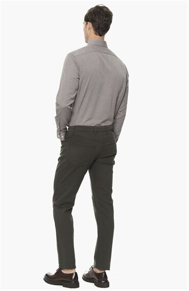Jakarlı Kahverengi Gömlek