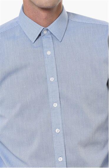 Kareli Slım Fit Lacivert-Beyaz Gömlek