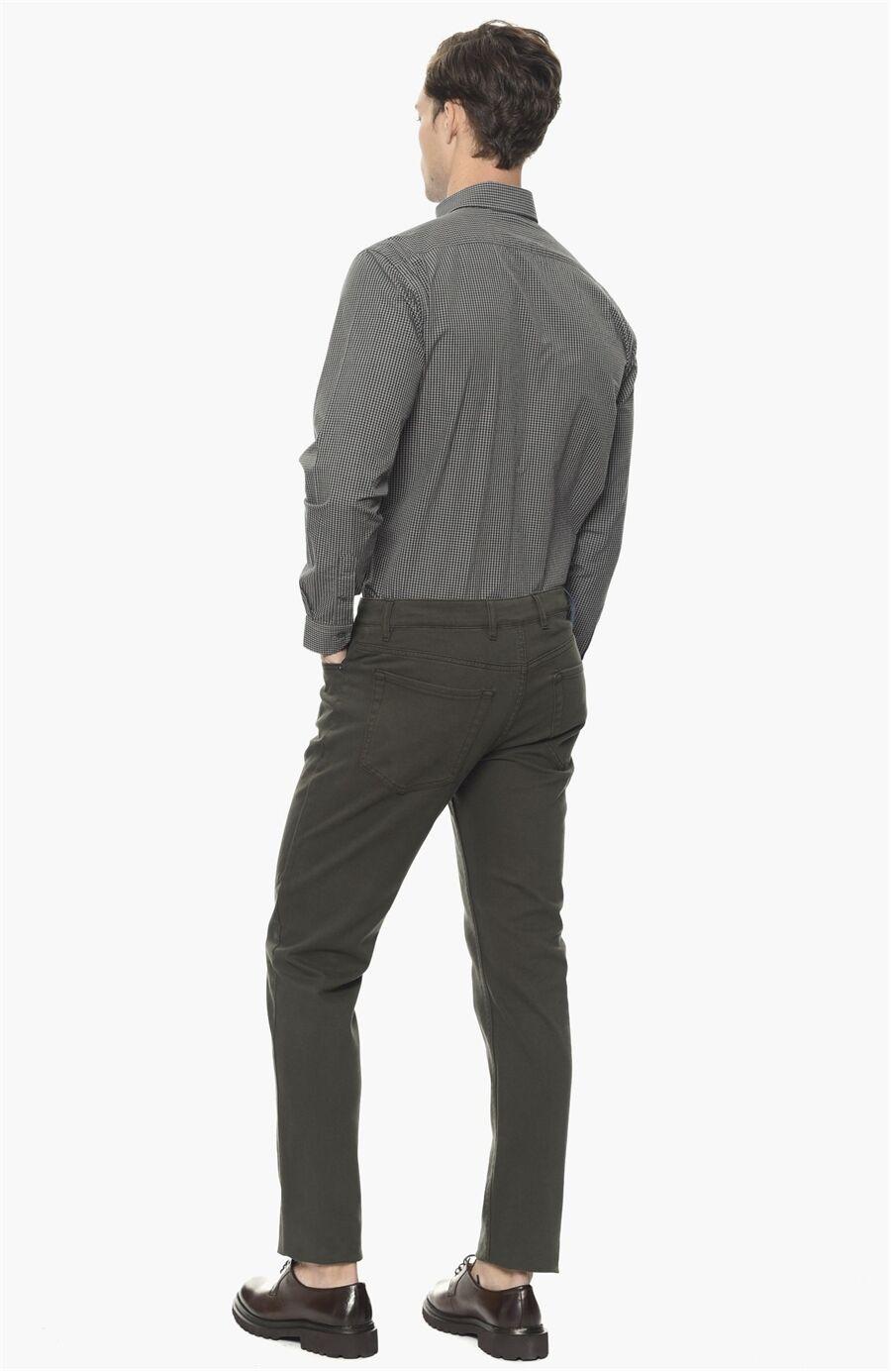 Kareli Slım Fit Gri Siyah Gömlek