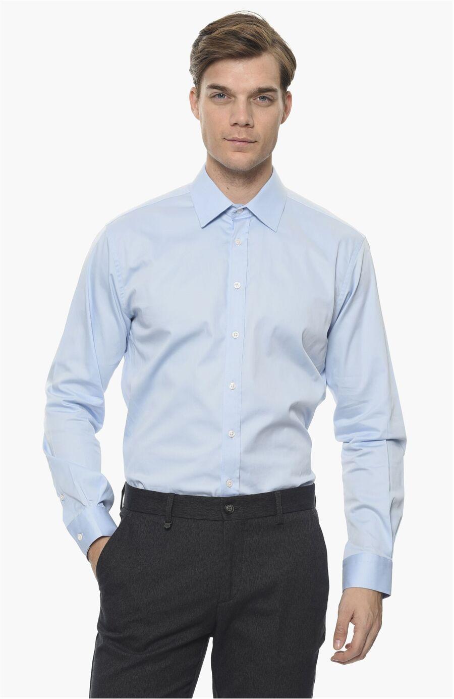 Slım Fit Açık Mavi Gömlek