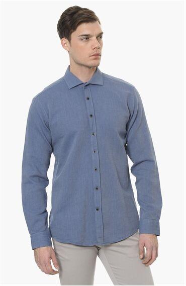 Mikro Desen Koyu Mavi Gömlek