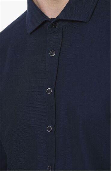 Mikro Desen Lacivert Gömlek