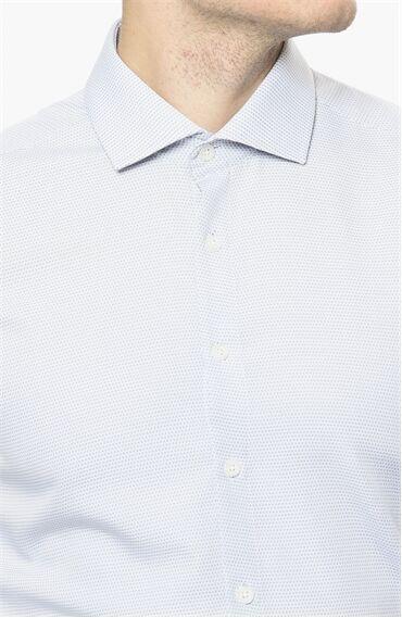 Armürlü Desen Mavi Beyaz Gömlek