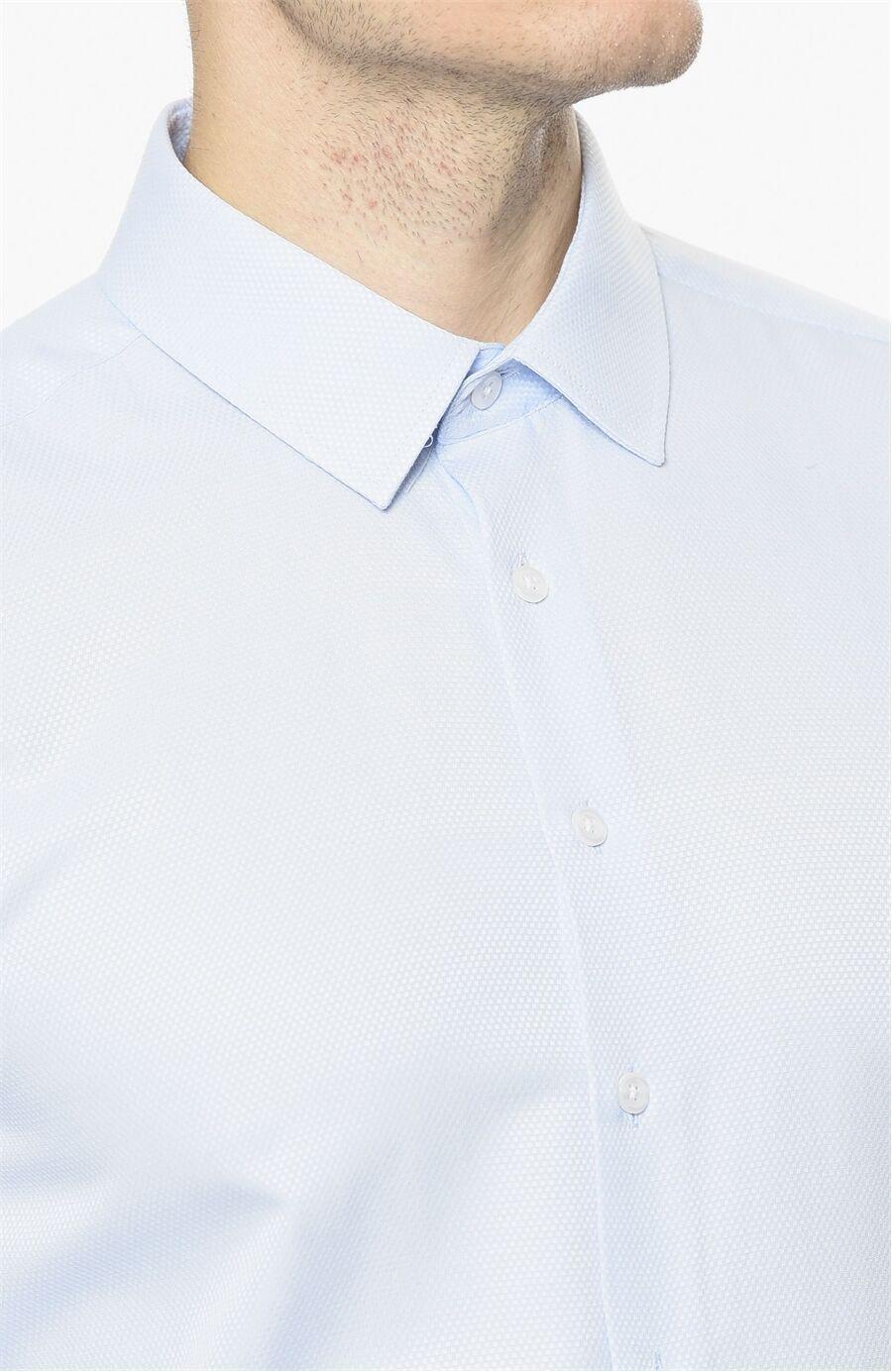 Armürlü Desen Mavi Gömlek