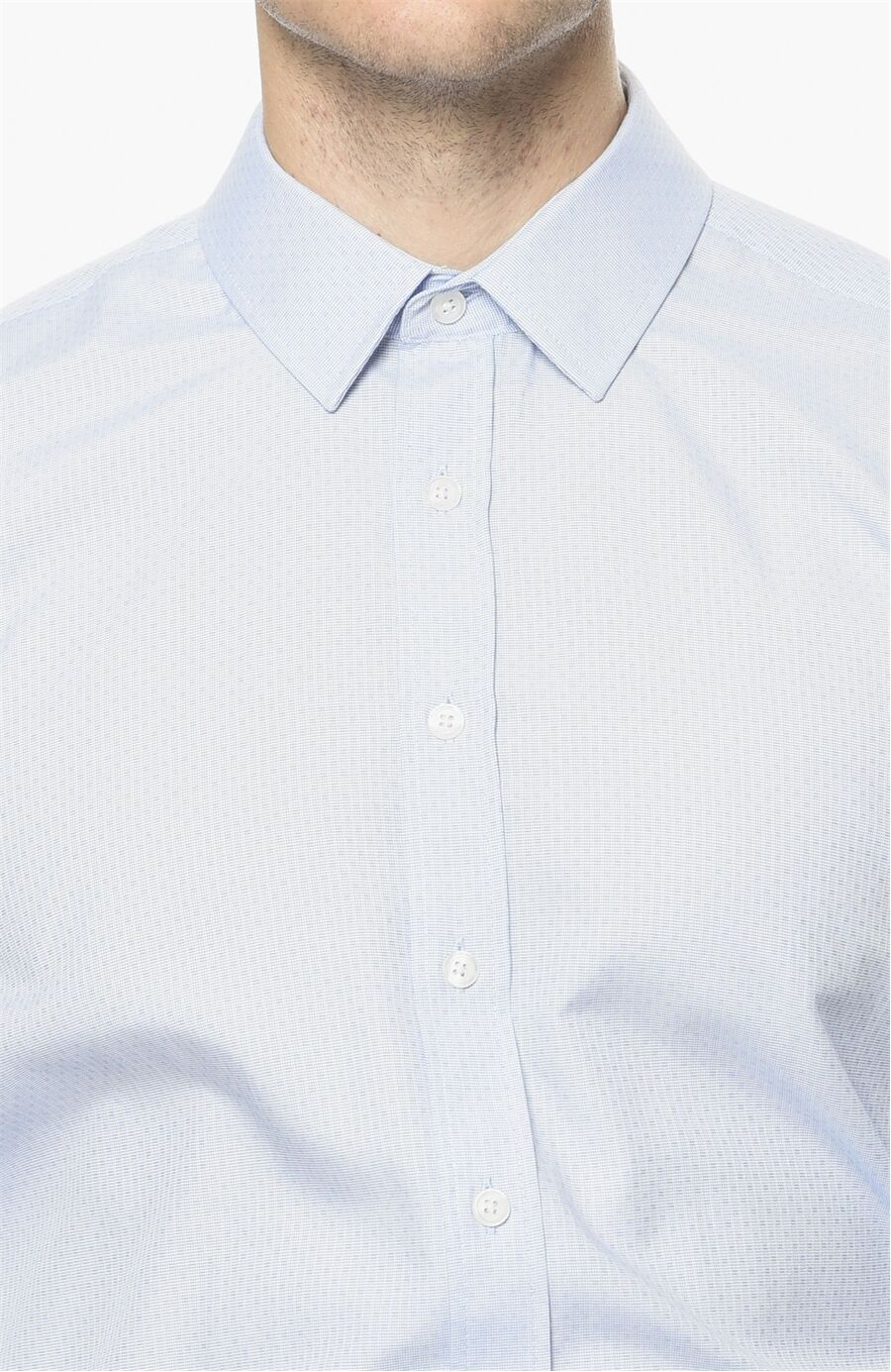 Jakarlı Desen Mavi Gömlek
