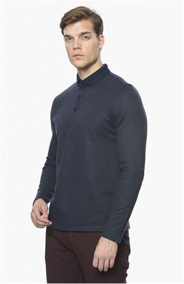 Polo Yaka Rahat Kesim Lacivert-Kahverengi Sweatshirt