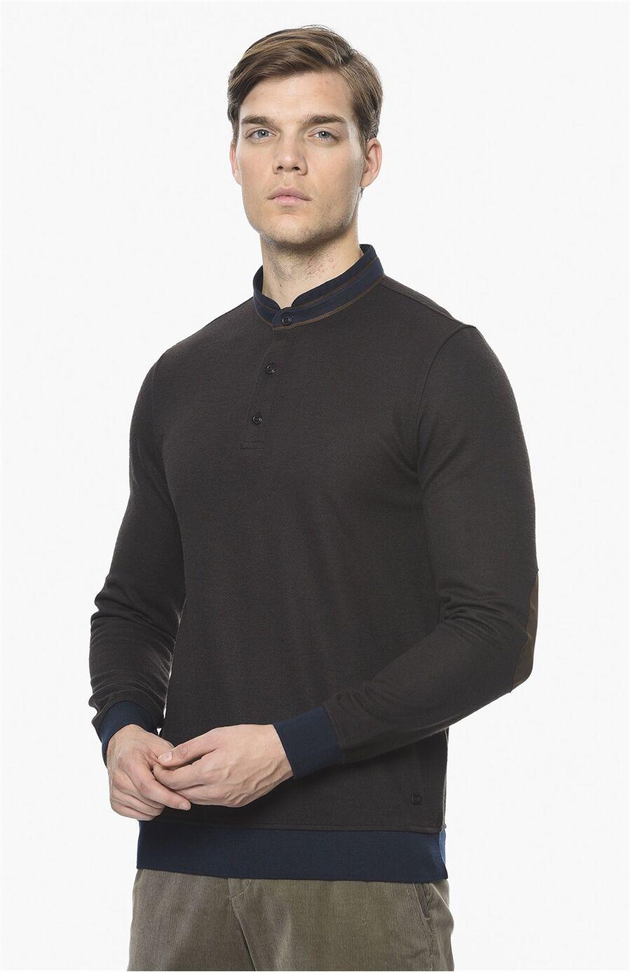 Diyagonal Rahat Kesim Kahverengi Sweatshirt