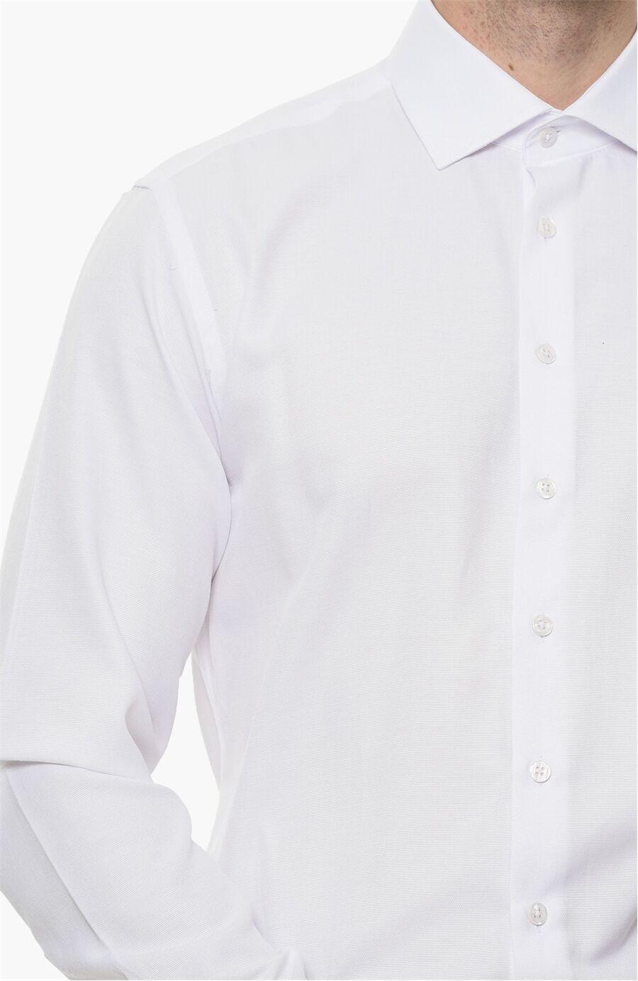 Oxford Desen Beyaz Gömlek