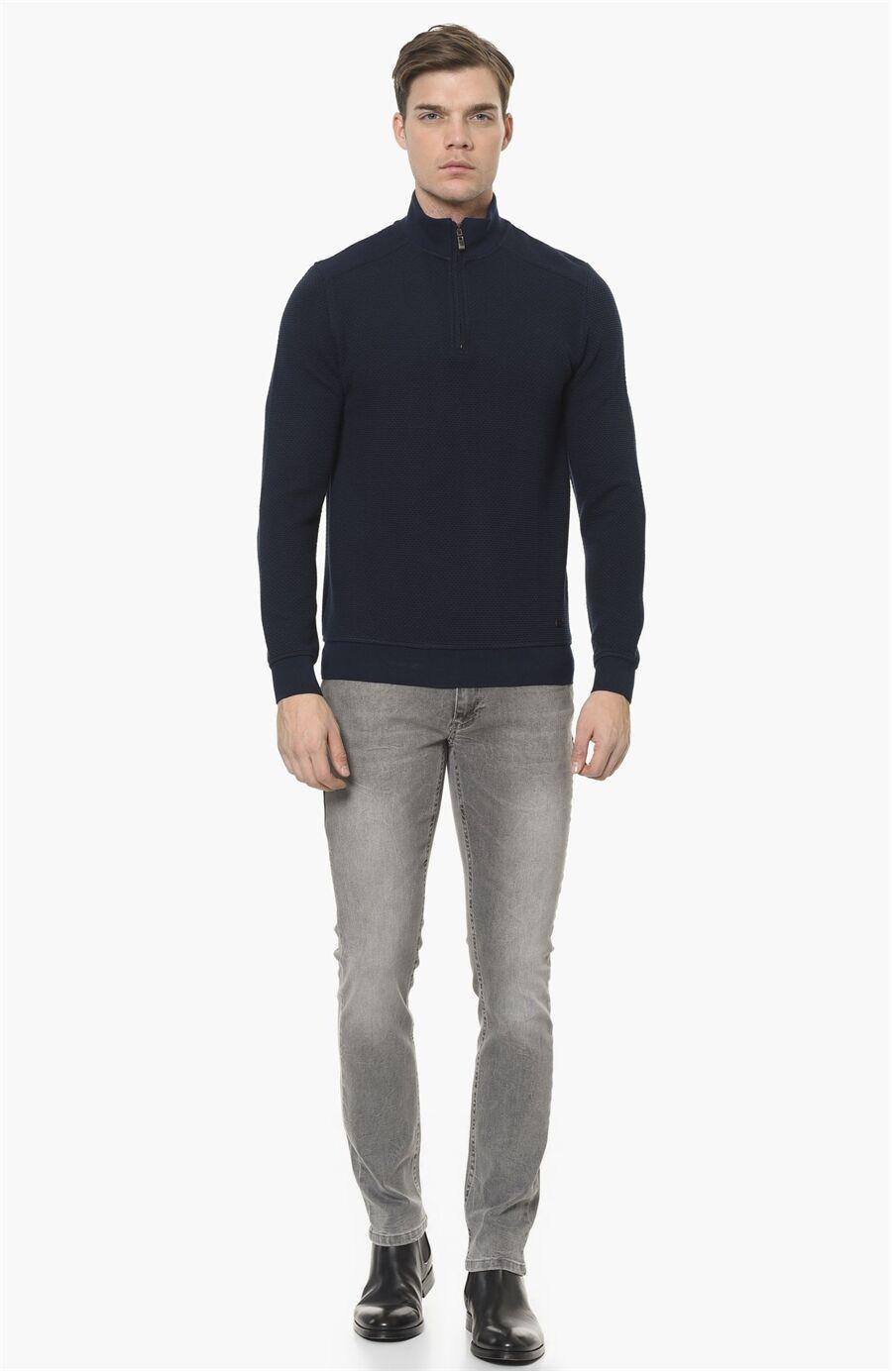 Mikro Rahat Kesim Lacivert-Kahverengi Sweatshirt