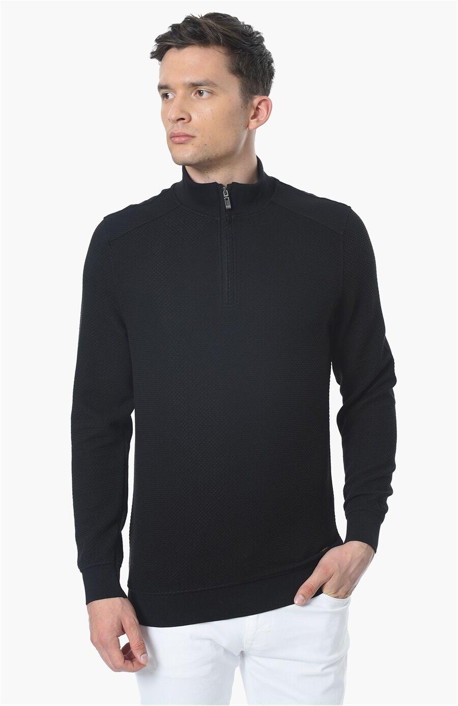 Mikro Rahat Kesim Siyah Sweatshirt