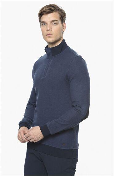 Diyagonal Rahat Kesim Koyu Mavi Sweatshirt