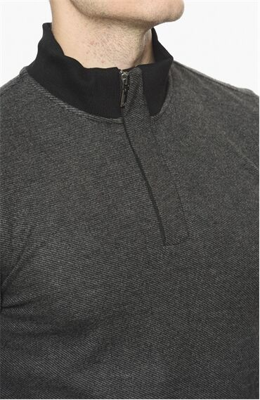 Diyagonal Rahat Kesim Antrasit Sweatshirt