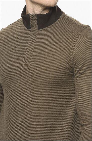 Diyagonal Rahat Kesim Bej Sweatshirt