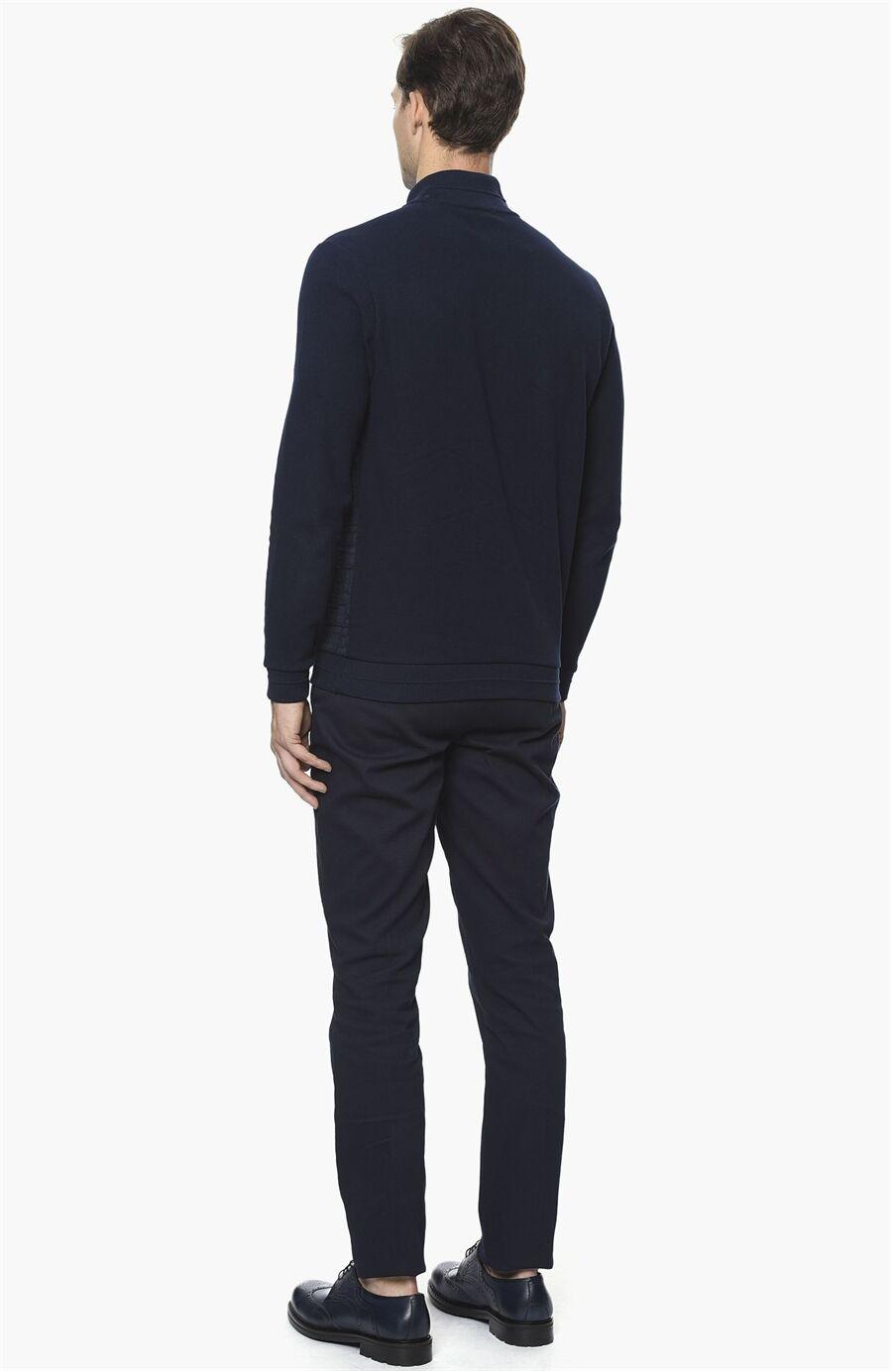 Jakarlı Lacivert Sweatshirt