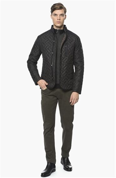 Kapitoneli Slım Fit Siyah Coat Ceket