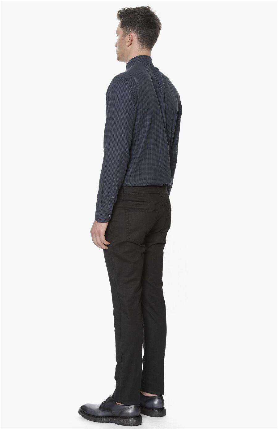 Diyagonal Slım Fit Siyah Denım Pantolon